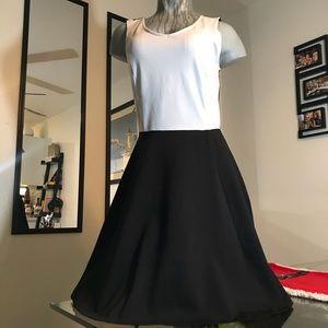 Sexy A Line Color Block Black & Grey V Neck Dress